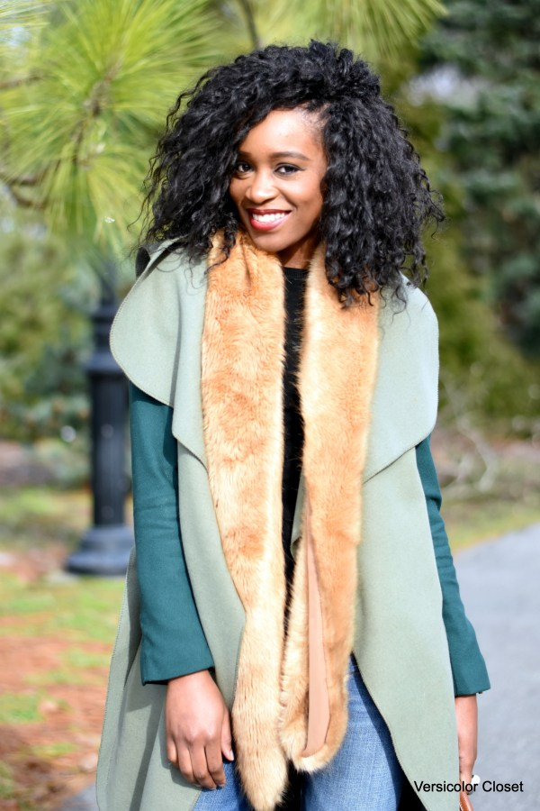 zara fur stole, h&m army green blazer, boohoo olivia waterfall coat