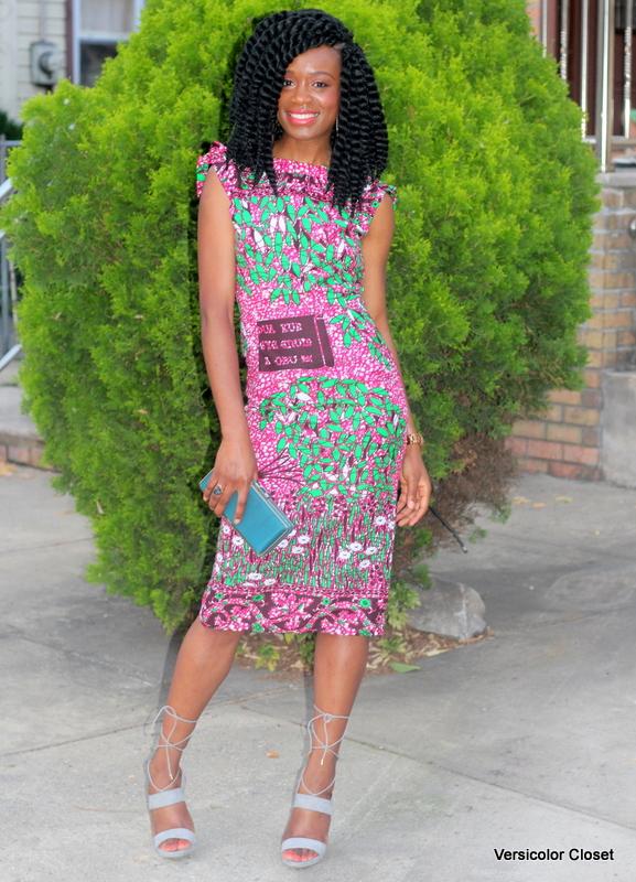 Ankara dress + gray laceup heels (3)