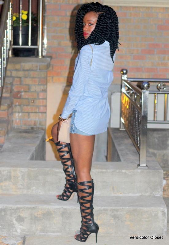 Denim shorts & gladiator heels (7)