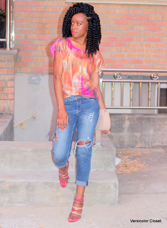 Styling ripped jeans, sequins top & caged heels (6)