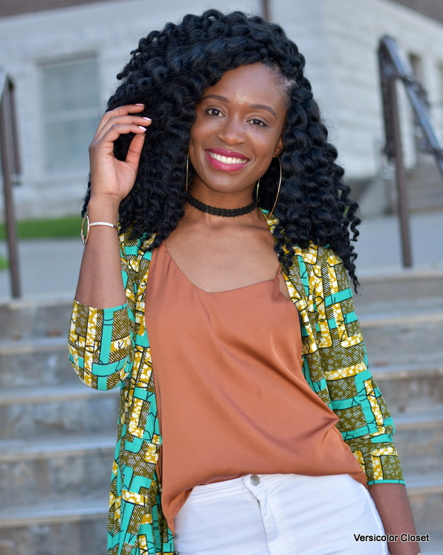 Ankara duster + white skinnies (1)