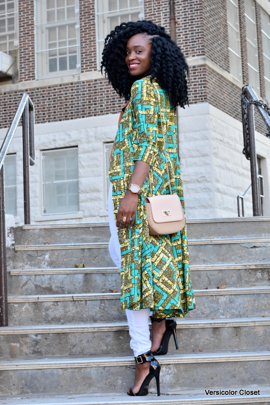 Ankara duster + white skinnies (2)