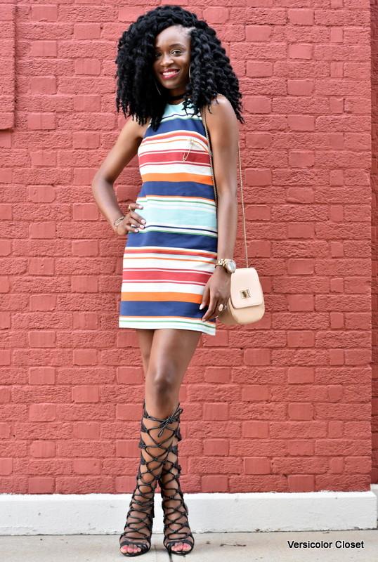 Striped dress & gladiator heels (4)