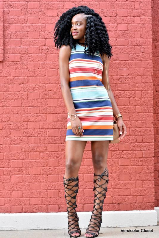 Striped dress & gladiator heels (5)