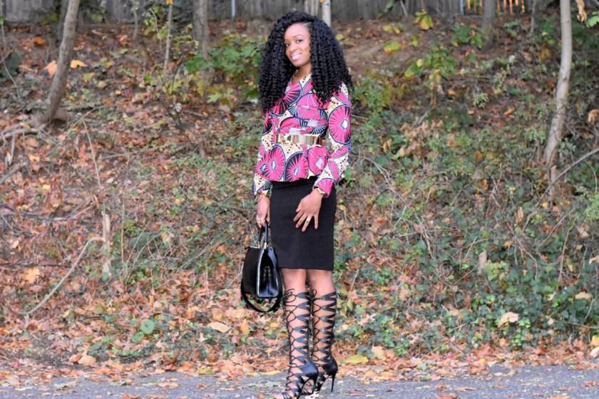 midi-skirt-ankara-jacket-gladiator-heels-5