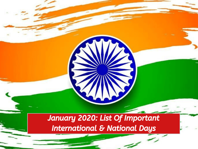 January 2020_List of important days