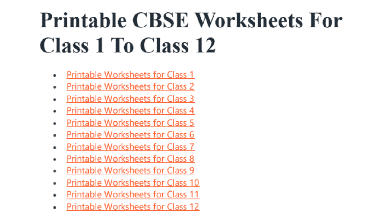 - Printable CBSE NCERT Worksheets For Class 1, 2, 3, 4, 5, 6, 7, 8