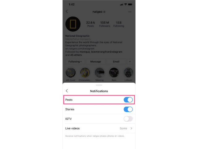 Enable Post notification for Posts Stories IGTV videos option