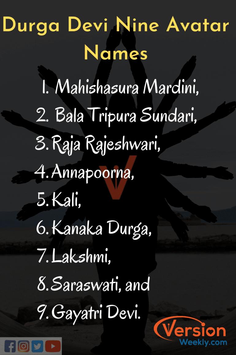 nine avatar names of Durga Mata