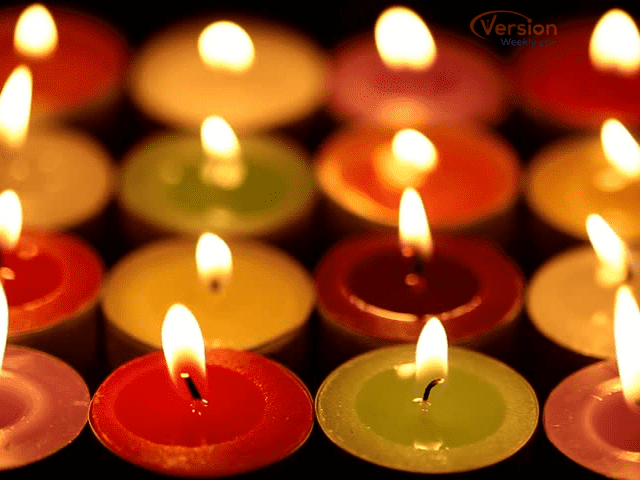 colorful candles decoration for Deepawali festival
