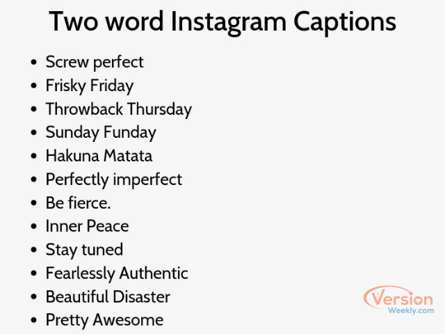 two word captions & quotes for instagram