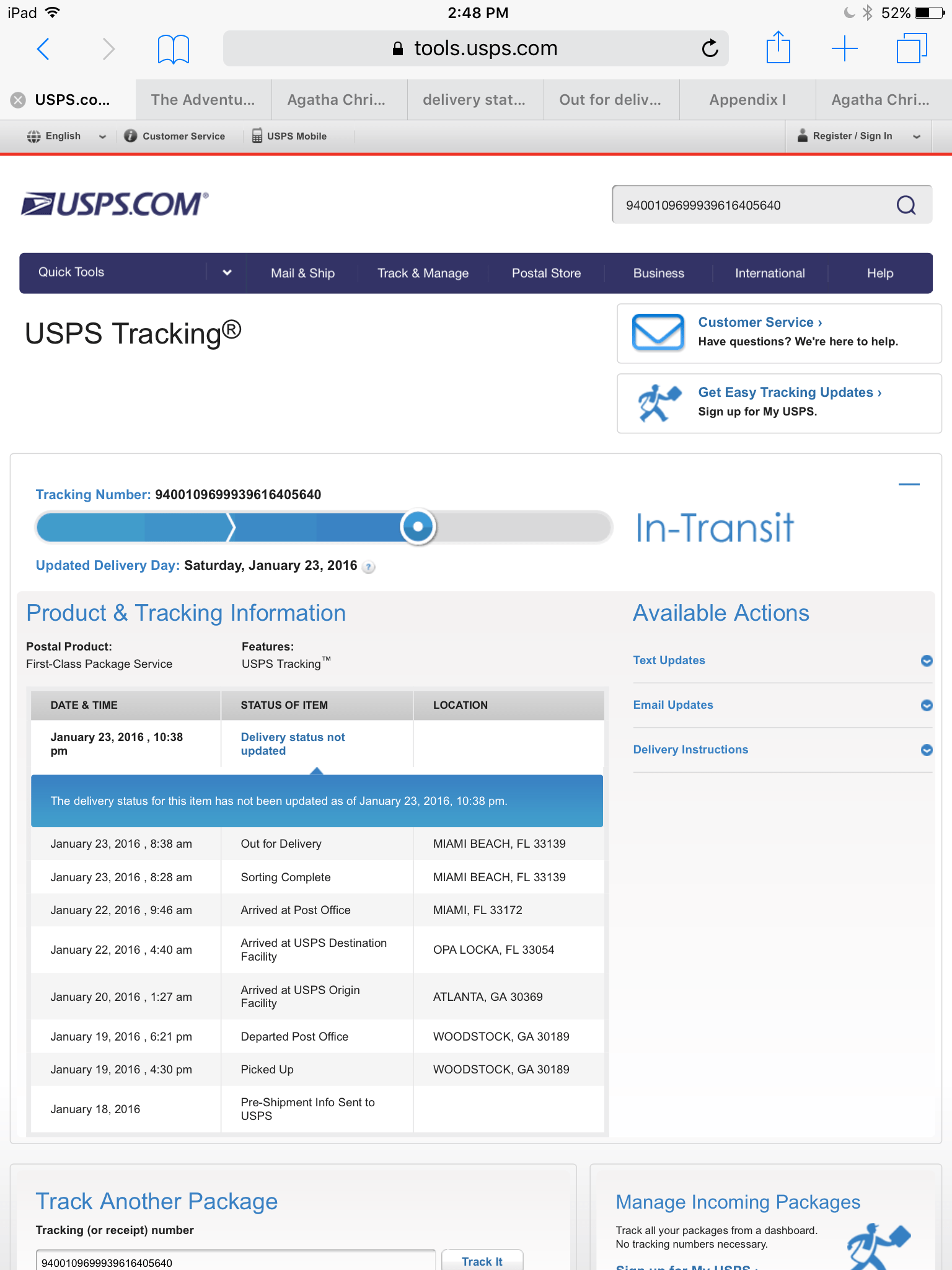 "Does Usps Have Live Tracking : tracking, ""Delivery, Status, Updated"", Tracking, VERSLUIS"