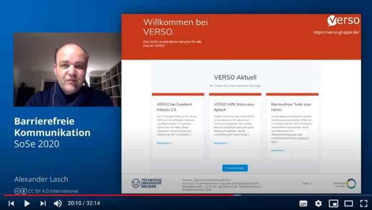 Ausschnitt aus dem Input-Video: Auch VERSO wird erläutert.