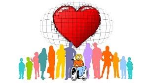 Eine Gruppe von Menschen, in der Mitte ein Kind im Rollstuhl. Über allen eine angedeutete Weltkugel mit einem großen roten Herz.