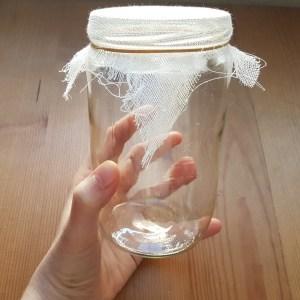 Mon bocal fait maison pour la germination des graines germées. Il suffit d'un bocal en verre, d'une gaze et d'un élastique
