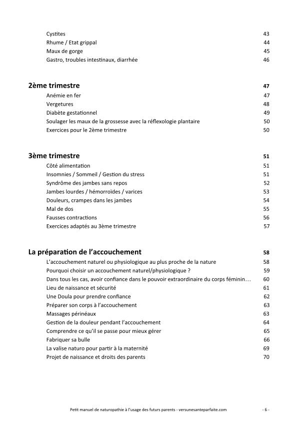 Sommaire manuel de naturopathie à l'usage des futurs parents