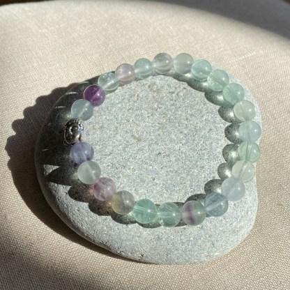 Bracelet en fluorite multicolore et argenté
