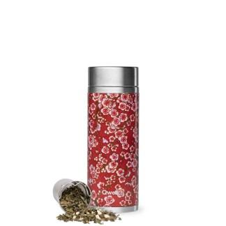 Théière isotherme Flowers rouge 400ml Qwetch