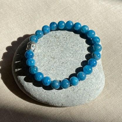 Bracelet en apatite bleue et argenté