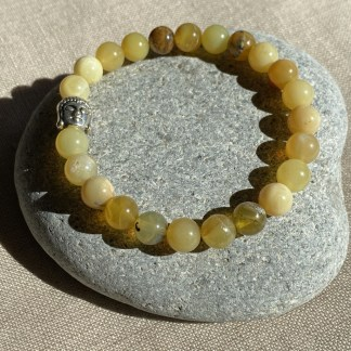 Bracelet en opale jaune et argenté