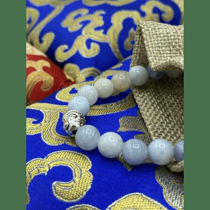 Bracelet en amazonite et argenté décor