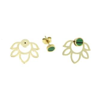 Boucles d'oreilles Lotus malachite Les Cleias
