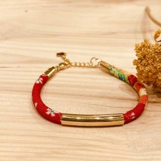 Bracelet japonais en tissu de Kimono N°22 Atelier Vivienne