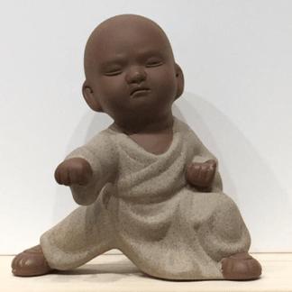 Statuette Moine Shaolin beige