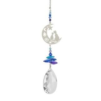 Fantaisie de cristal Deux chats sur la Lune Woodstock Chimes