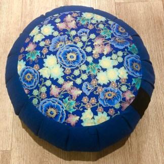 Zafu traditionnel en épeautre Fleurs japonaises bleu