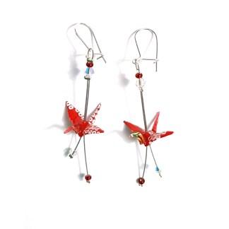 Boucles d'oreilles origami Grue blanc et rouge Petits plis