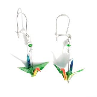 Boucles d'oreilles origami Grues vert et orange Petits plis