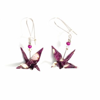 Boucles d'oreilles origami Grues violet Petits plis