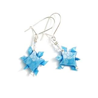Boucles d'oreilles origami Tortues bleu ciel Petits plis