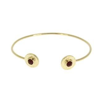 Bracelet jonc Les Cleias plaqué or rouge