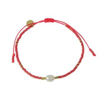 Bracelet Les Cleias acier inoxydable Delicat Perle rouge nacré