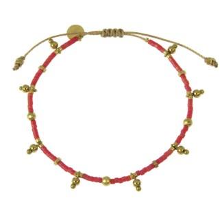 Bracelet Les Cleias acier inoxydable Farah rouge nacré