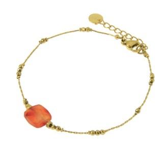 Bracelet Les Cleias acier inoxydable Victorine cornaline