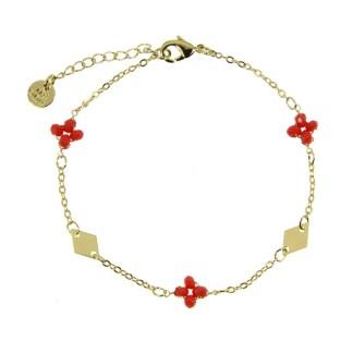 Bracelet Les Cleias plaqué or Lila rouge