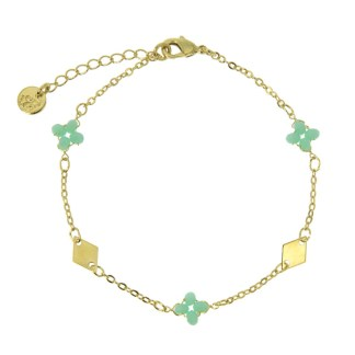 Bracelet Les Cleias plaqué or Lila turquoise