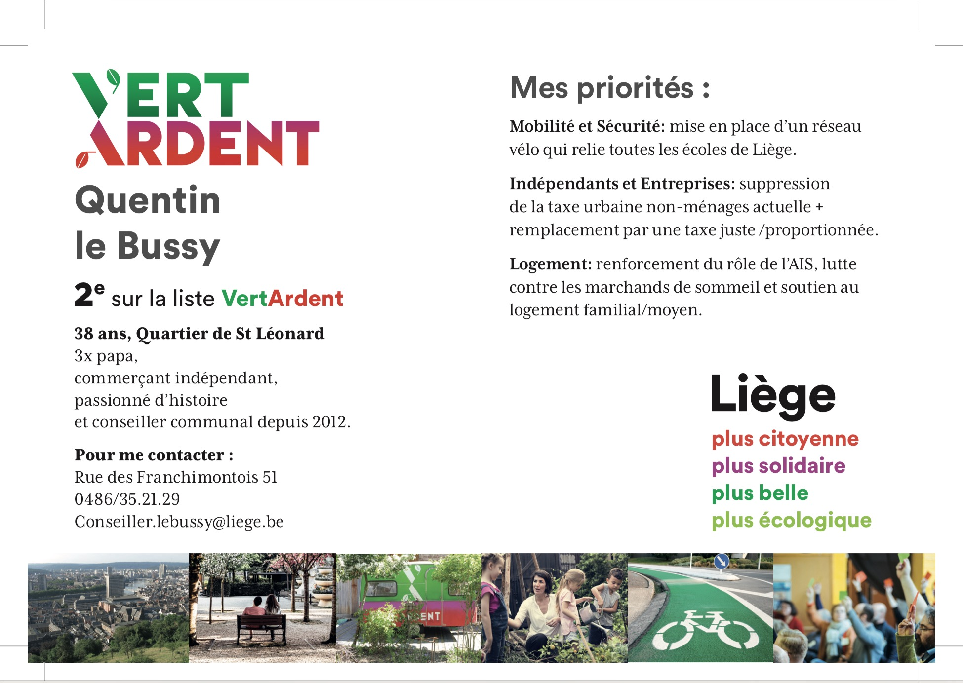 Quentin le Bussy - Candidat 2 - Vert Ardent - Liège 2018 - Passeport
