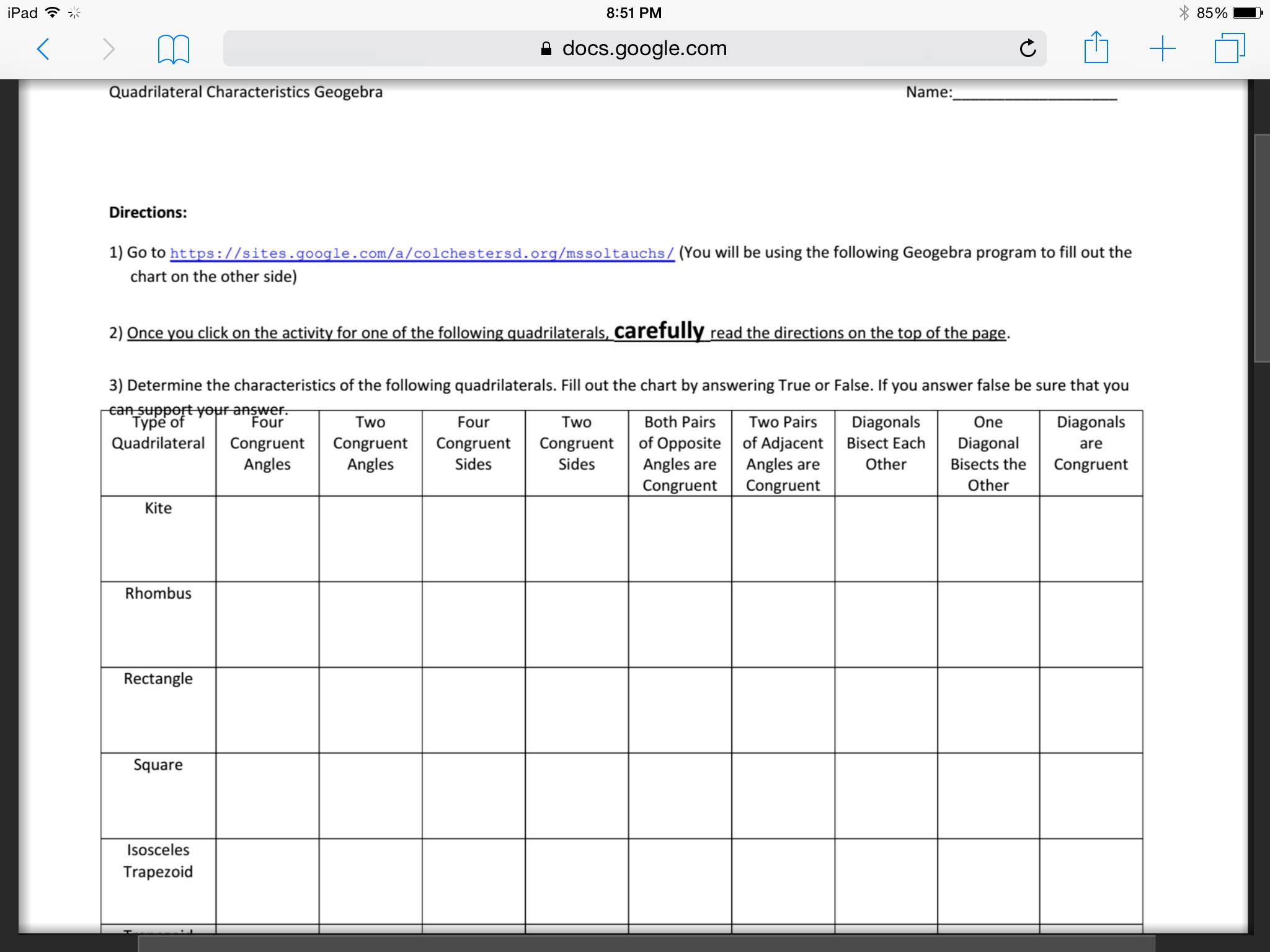 Properties Of Quadrilaterals Worksheet - Saveoaklandlibrary