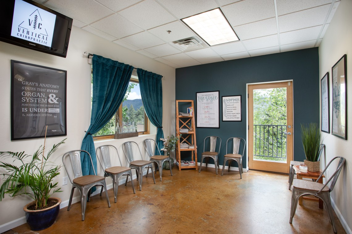 office in durango, co, appointment in Durango, tranquil office space near purgatory resort, snow, skiing, chiropractic, hiking, tast of durango, offices, back pain, gonstead chiropractic, blue, wood floors, sunshine, light