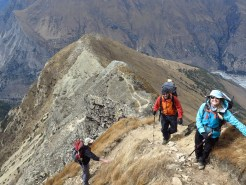 Climbing to Pangi Camp