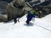 Downclimbing through exposed terrain