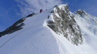 The first step at the base of the SW ridge - firm conditions