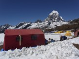 Basecamp - with Taboche behind and loads of snow on the ground