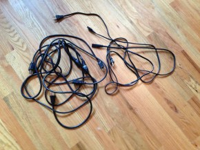 Lonny hooked up a computer to my monitor and pulled these cords, that apparently no longer have an attached appliance, from under my desk. What's your point? TRASH.