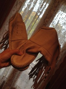 Moccasins that Lonny gave me for my Halloween costume. I scoffed at these because they weren't nearly slutty enough. SELL.