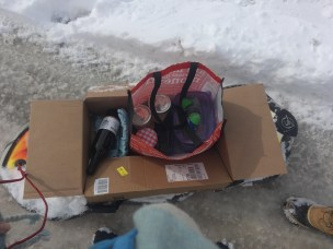 During yesterday's snow day I sledded provisions over to a sick friend